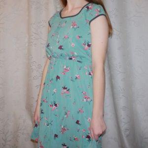 Xhilaration Teal & Pink Floral Dress
